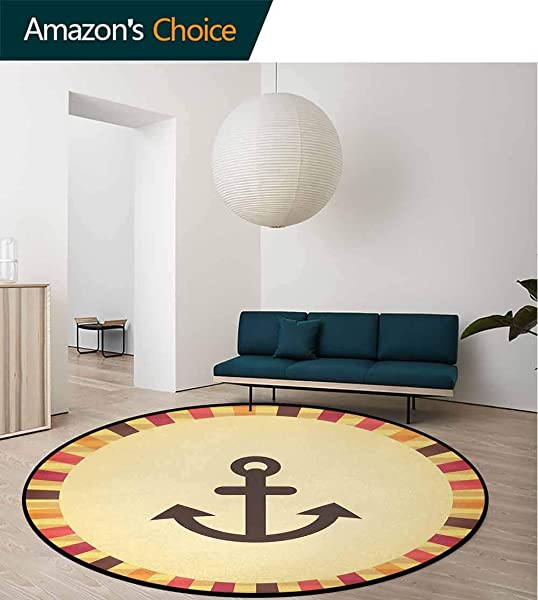 Anchor Machine Washable Round Bath Mat Vintage Pop Art Sailing Anchor On Colorful Background Security Safety Symbol Non Slip No Shedding Bedroom Soft Floor Mat Diameter 24 Inch Cream Red Orange