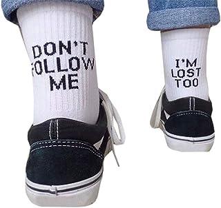 1 par de algodón las mujeres divertidas de humor palabra impresa Calcetines altos de la calle de Hip Hop Monopatín baloncesto Calcetines unisex