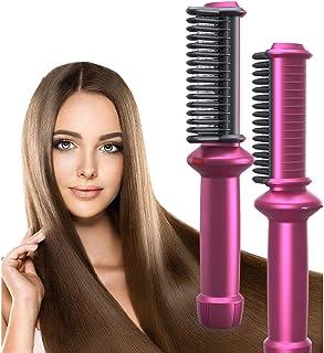Hårplattång borste plattborste, keramisk hårplattång borste för kvinnor och män bärbar elektrisk utjämningsborste hårplatt...
