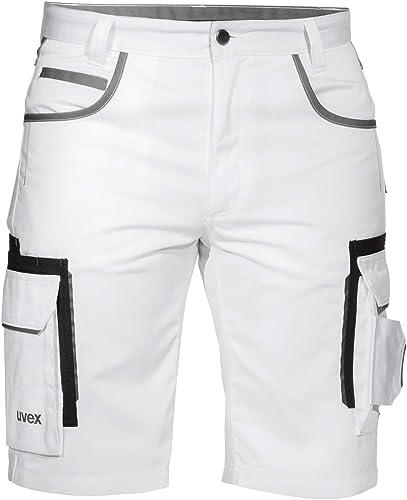 Uvex Tune-Up Pantalons Courtes de Travail pour Hommes - Shorts Cargo Bermuda - Multiples Poches,Blanc,52