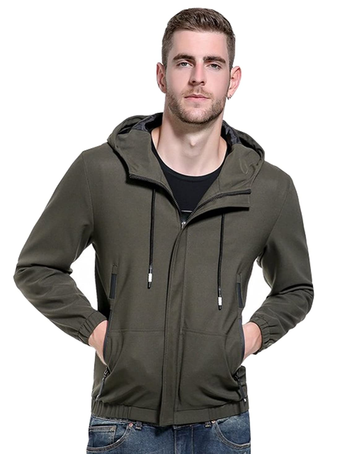 UNbox-HT Mens Jackets Stand Collar Zipper Overcoat Design Casual Hooded Fly Coats