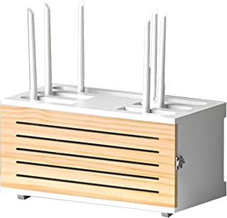 Caja para Router y Cables Estante de Almacenamiento de Madera Multimedia Set-Top Box Rack Soporte Router TV Decodificador ...