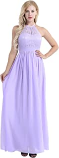 TiaoBug Women's Floral Lace Halter Neck Sleeveless Wedding Bridesmaid Dress