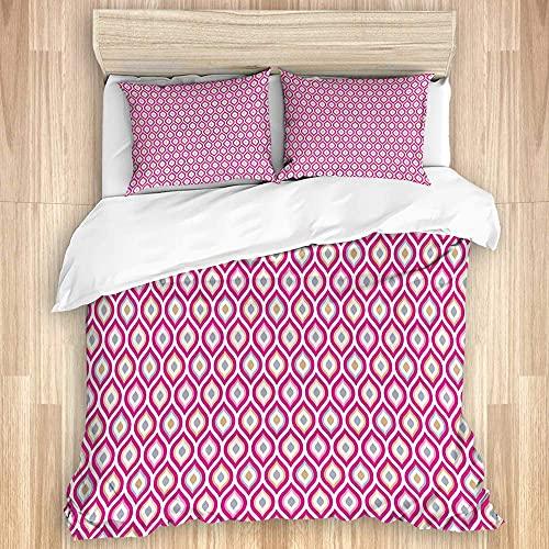 Conjuntos de tapa de un edredón de algodón de lujo, estampado elíptico anidado con curvas abstractos, 3 piezas de ropa de cama suave Conjunto de hojas para niños cómodas lavable (incluye 1 cubierta de