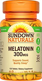 (2 Pack) Sundown Naturals Melatonin, 300 mcg, Tablets, 120 tablets by Sundown