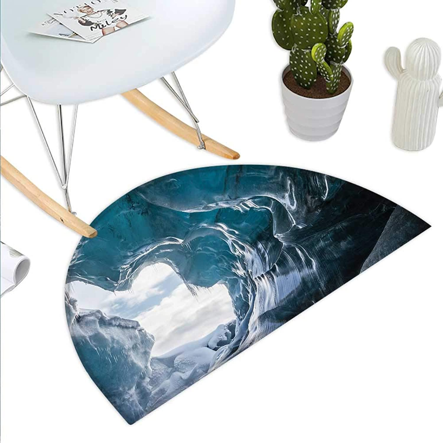 Cave Semicircle Doormat Inside of The Famous Vatnajokull Glacier in Iceland with Icicles Halfmoon doormats H 43.3  xD 64.9  Charcoal Grey Pale bluee White