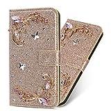 Miagon Diamante Custodia per Samsung Galaxy S21 Ultra,Brillante Glitter Fiore Portafoglio in Pelle PU Cuoio Caso Carte di Slot Cover Protettiva,Oro