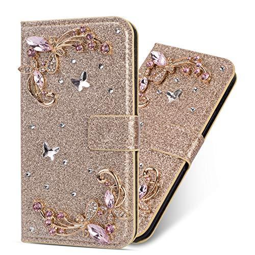 Miagon Hülle Glitzer für Huawei P40,Diamant Strass Blume PU Leder Handyhülle Ständer Funktion Schutzhülle Brieftasche Cover,Gold