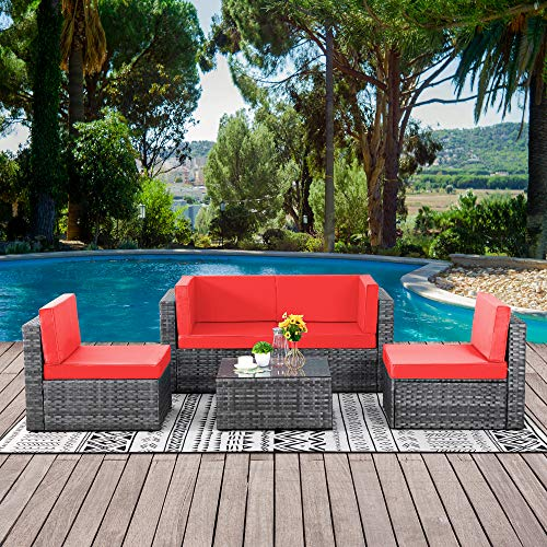 Walsunny Outdoor Sliver Rattan Sectional Sofa Patio Wicker Furniture Set Conversation Sets with Tea Table&Washable Couch Cushions (Red)