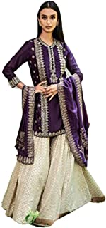 Bhumik Enterprise WOMEN'S Georgette Ethnic Wear Semi Stitched Salwar Suit (ANARKALIGOWN_SALWARSUIT_DRESS_ER14106 Purple Free Size)