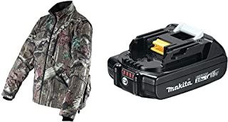 Makita DCJ201ZL 18V LXT Lithium-Ion Cordless Mossy Oak Heated Jacket (Camo, Large) with BL1820B 18V LXT Lithium-Ion Compact 2.0Ah Battery