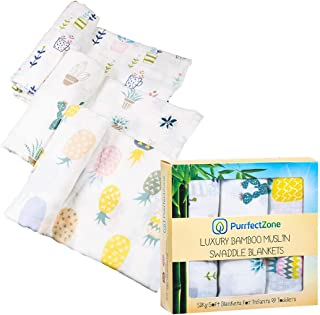 PurrfectZone Silky Soft Large Bamboo Muslin Swaddle Blankets (Neutral, Pineapple)