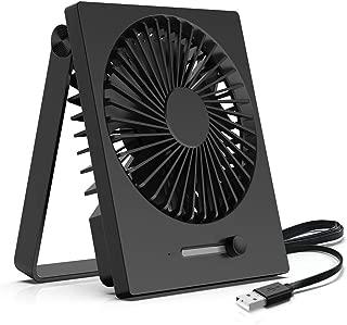 KopBeau Desk Fan, Personal USB Small Cooling Folding Table Fan, Stepless Speeds, Slim Design & 180 Degree Adjustment, DC Motor, Quiet for Home&Office, Black …