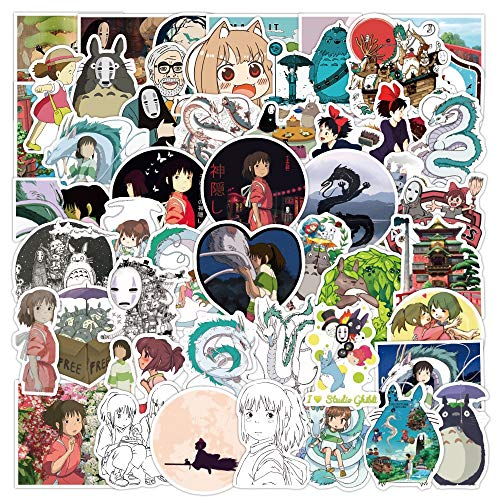 Miyazaki Hayao Anime Stickers Moving Castle Spirited Away Cartoon Stickers For Bike Laptop Book Luggage Kids Toys 50 Pcs