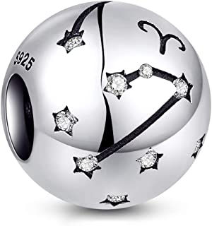 NINGAN Zodiac Star Sign 925 Sterling Silver Bead Charm Fits Pandora, Chamilia & European Charm Bracelets & Necklaces