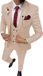 Men's 3 Piece Slim Fit Men Suit Separates Formal Lattice Wedding Suit Tuxedos (Blazer+Vest+Pant)