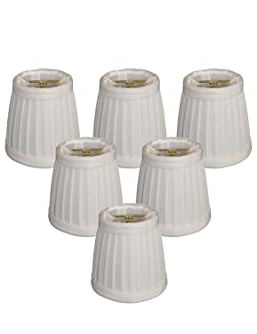 Royal Designs Pleated Empire Chandelier Lamp Shade, White, Set of 6, Size 3.5 (CS-109WH-6)