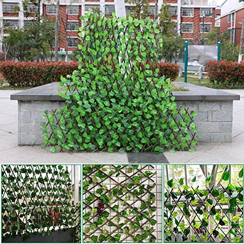 Staunchow Expanding Trellis Fence Retractable Fence Artificial Garden Plant Fence UV Protected Privacy Screen for Outdoor Indoor Use Garden Fence Backyard Home Decor Greenery Walls