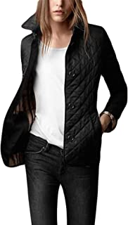 Women's Winter Insulated Checker Quilted Single Breasted Lightweight Parka Jacket