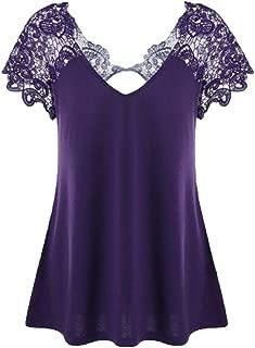 Dubocu Women's Fashion V-Neck Plus Size Lace Short Sleeve Trim Cutrk T-Shirt Tops