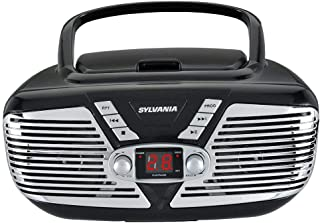 Sylvania SRCD211-RED Portable CD Boombox with AM/FM Radio, Retro Style, (Red) (Renewed)