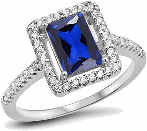 Vorra Fashion - Anillo solitario para mujer, chapado en platino, corte esmeralda, zafiro azul, con detalles
