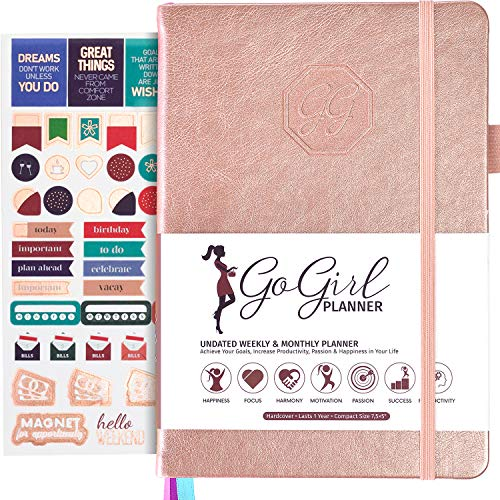 GoGirl Planner and Organizer for Women – Compact Size Weekly Planner, Goals Journal & Agenda to Improve Time Management, Productivity & Live Happier. Undated – Start Anytime, Lasts 1 Year – Rose Gold