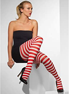 Smiffys Fever. Damen Blickdichte Strumpfhose, Gestreift, One Size, Rot-Weiß, 42736
