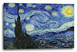 Printed Paintings Leinwand (100x70cm): Vincent Van Gogh - Die Sternennacht (1889)