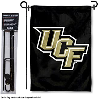 College Flags and Banners Co. Central Florida Knights Black Garden Flag with Stand Holder