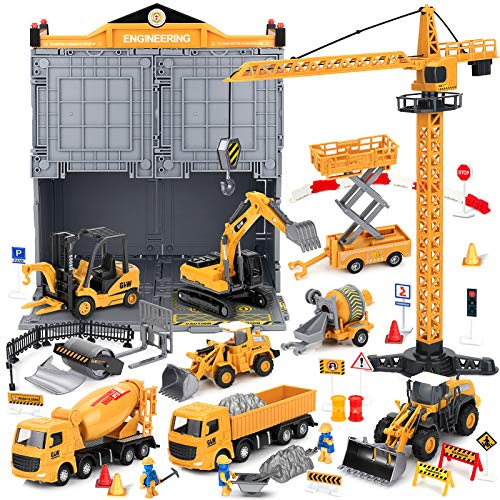 BIMONK Legierung Baufahrzeuge LKW Spielzeug Set, Engineering LKW Spielset, Spielzeug Baggerlader, Bauwagen, Turmdrehkran, Baustellenfahrzeug für Kinder und Jungen