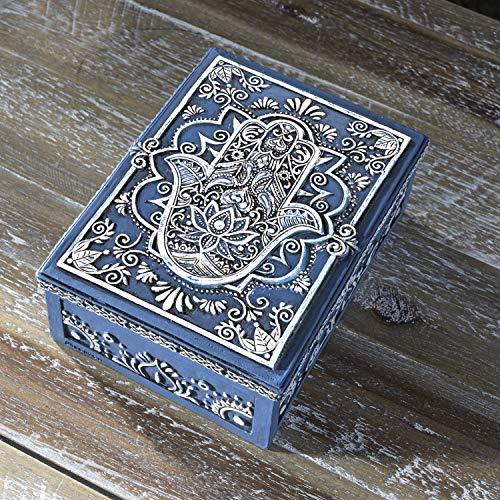 Pacific Giftware Hamsa Symbol Sculptural Jewelry Trinket Keepsake Tarot Box Fengshui Lucky Talisman Home Accent Decor 5.25'L