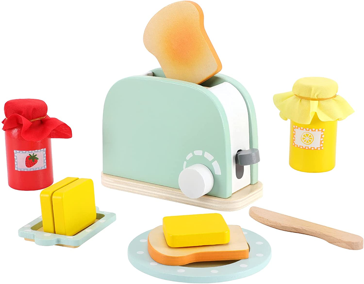 WHOHOLL Wooden Kitchen Toys, 11Pcs Pop Up Toaster Play Bread Maker with Bread Slice Knife Butter Sauce Toddler Kitchen Accessories for Early Education Kitchen Pretend Games for Girls Boys Gift