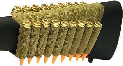 Tan 18 Round Rifle Ammo Cartridge Stock Buttstock Slip Over Carrier Holder Fits 7.62X54 7.62×54mmR Mosin Nagant SVD Dragunov Models Ambidextrous Bolt Lever Pump Action Sniper Hunting Rifle