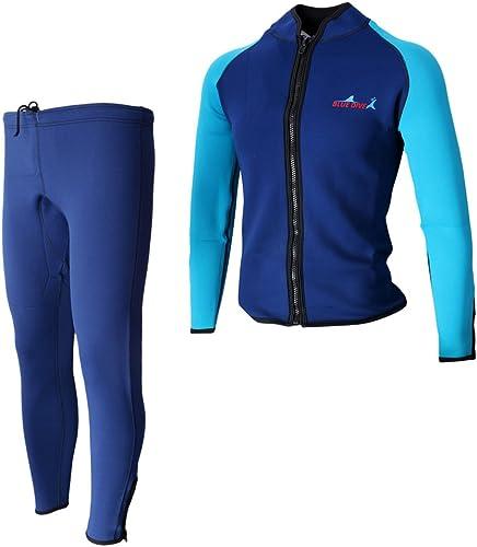 MagiDeal Combinaison de Plongée Costume à 2 Pièce Veste et Pantalon étanche Prougeection UV Combinaison Surf, en Néoprène