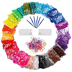 【26SOLID COLORS BANDS】12730pc rubber bands includes White, Yellow, Red, Pink, Blue, Dark Blue, Orange, Flesh, Gray, Purple, Bluish Green, Light Blue, Brown, Lilac, Pansy, Violet, Peach, Light Green, Royal Blue, Coffee, Green, Bright Red, Olive, Rose...