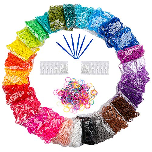 12730+ Loom Rubber Bands Refill Kit in 26 Color, 500 Clips, 6 Hooks, Premium Rainbow Bracelet Making Kit for Kids Weaving DIY Crafting Gift