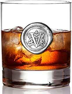 English Pewter Company 11oz Old Fashioned Whiskey Rocks Glass With Monogram Initial - Unique Gifts For Men - Personalized Gift With Your Choice of Initial (V) [MON122]