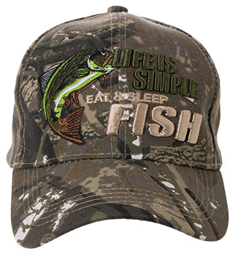 Life is Simple - Eat, Sleep, Fish Camo Hat - Funny Fishing Gift - 100% Cotton Embroidered Cap