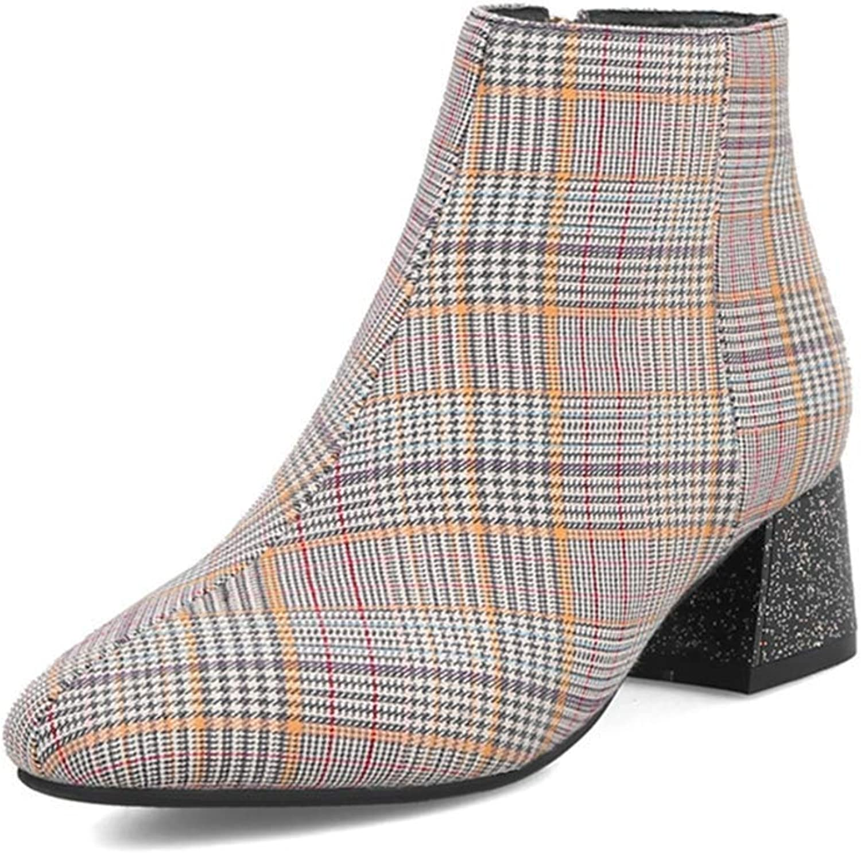 KEREE Women's Square Toe Plaid Ankle Boots Fashion Glitter Mid Heel Zipper Chelsea Dress Short Booties
