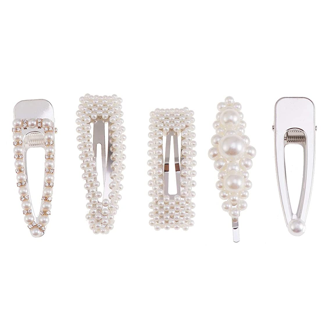 可塑性中で寺院LURROSE 5ピースパールヘアピンファッション甘い人工パールヘアクリップブライダルヘアウェディングアクセサリー(シルバー)