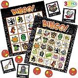 32pcs Halloween Juego de Bingo Tarjetas, 16 jugadoras para Juego de Fiesta de Halloween