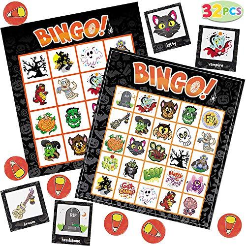 JOYIN 32 Halloween Bingo Game Cards (4x4 & 5x5) – 16 Players for Halloween Party Card Games, School Classroom Games, Trick or Treating, Halloween Party Favors Supplies, Family Activity