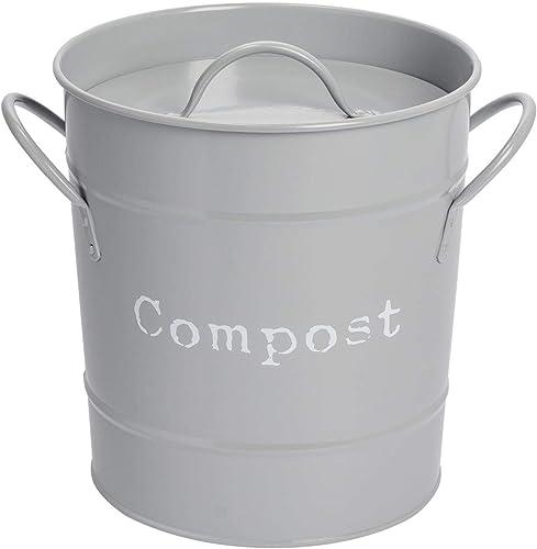 inkl Griffe Kohlefilter Schwarz ideal f/ür Speisereste Karbonstahl Komposteimer f/ür die K/üche im Innenbereich wei/ß 45 l