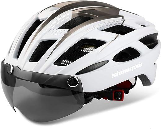 Shinmax Fahrradhelm,CE-Zertifikat,Fahrradhelm mit Abnehmbarer Schutzbrille Visier für Herren Damen Erwachsene Radhelm Einstellbarer...