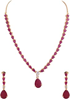 e9daffde6d Ratnavali Jewels American Diamond CZ Gold Plated Designer Red Ruby  Jewellery Set/Necklace Set with