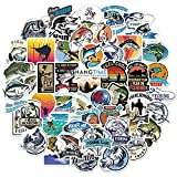 50pcs Go Fishing Stickers for Fishing Enthusiast Boys Teens Adults,Aesthetic Trendy Bass Fishing Stickers Durable Decals for Laptop Waterbottle Hydroflasks Computer Luggage Car Bike