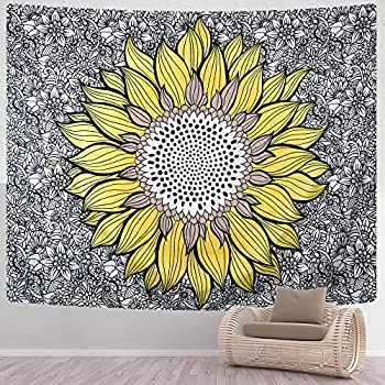 SENYYI Sunflower Tapestry Mandala Boho Tapestry Yellow Flower Tapestry Black and White Floral Wall Hanging for Room  51.2 x 59.1 inches