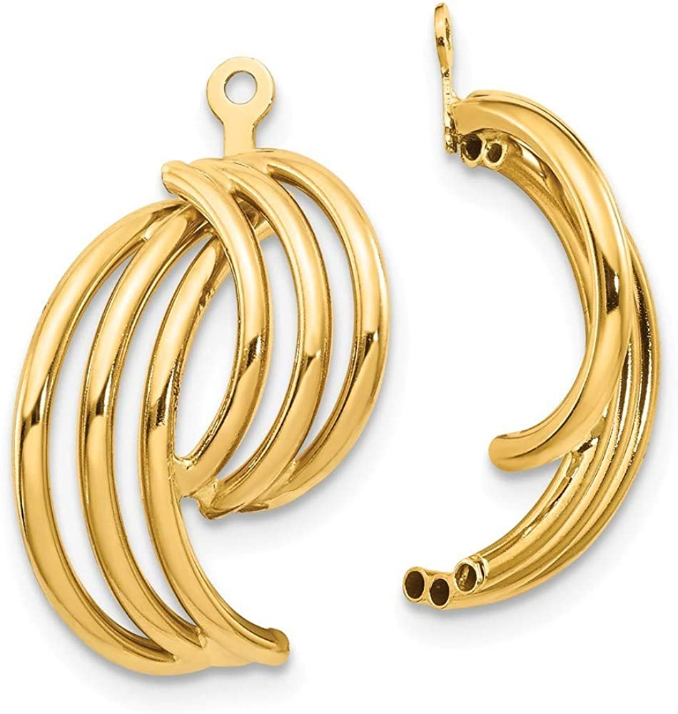 Roy Rose Jewelry 14K Yellow Gold Polished Fancy Earring Jackets 21mm length