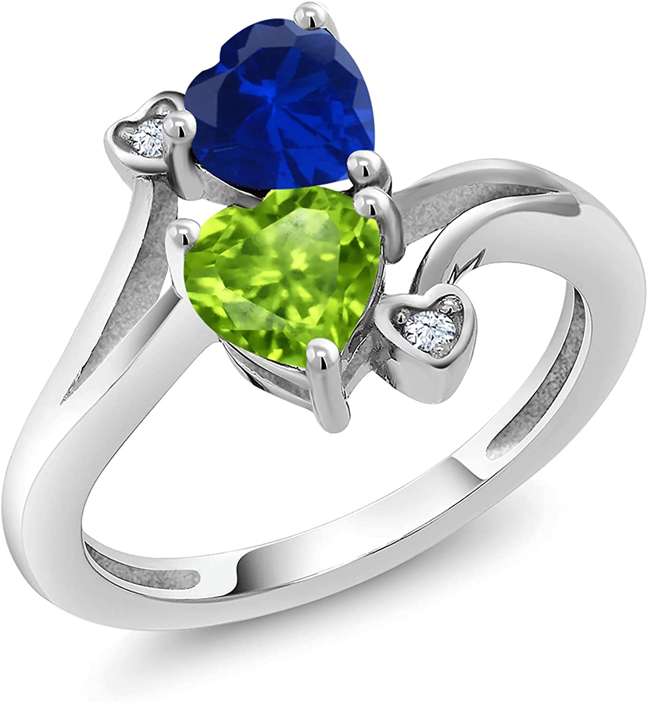 Gem Stone King Max 41% OFF 925 Sterling Silver Blue Created Sapp Regular dealer Shape Heart
